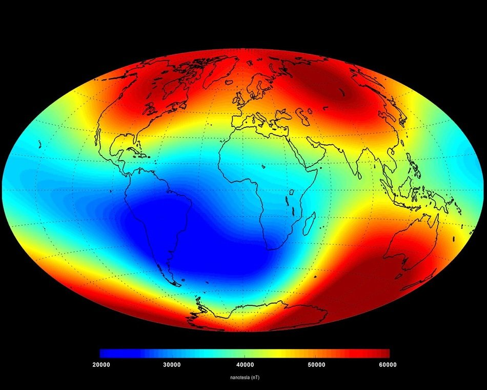 magnetic field of Earth's surface taken in June 2014 based on the data collected by Swarm satellites
