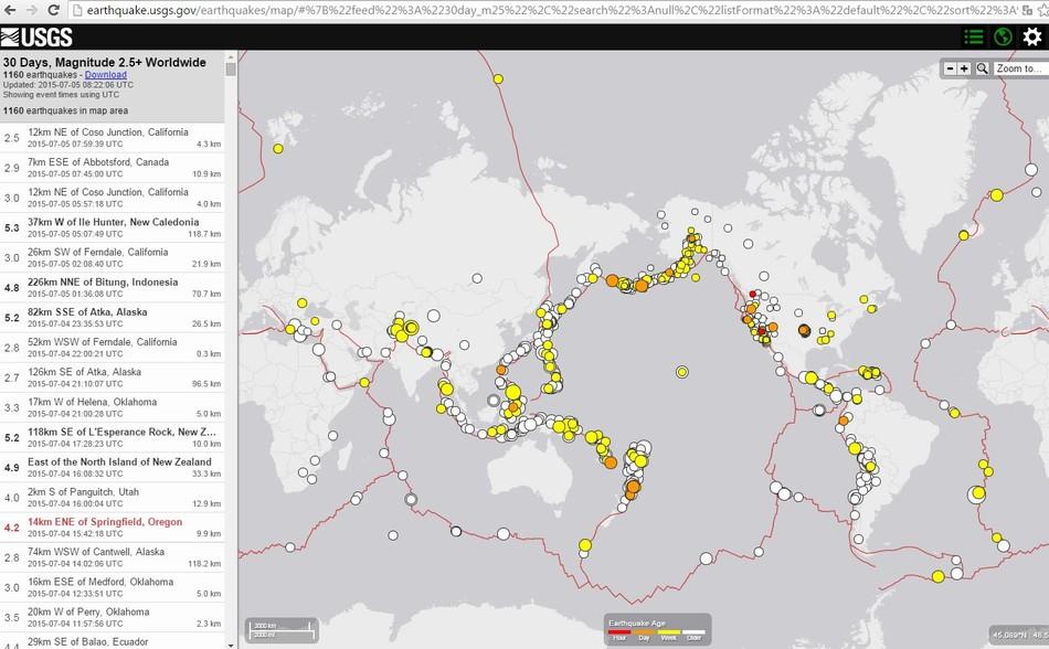 Карта сейсмической активности за период 06/06/2015 – 05/07/2015 магнитудой более 2.5 по данным USGS