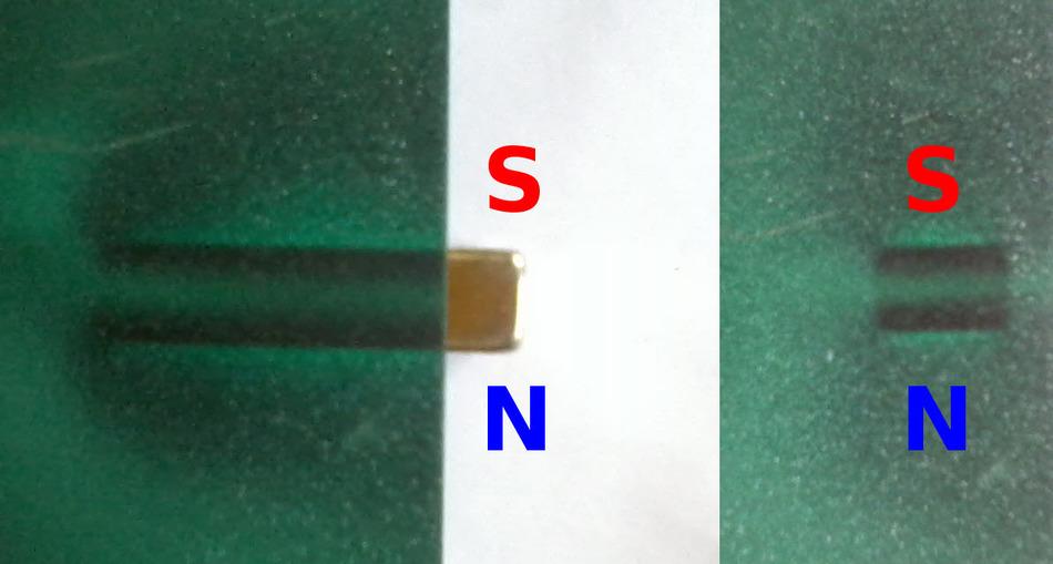 Фото магнитного поля прямоугольного неодимового магнита