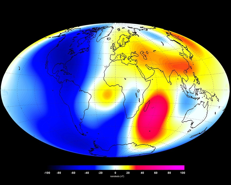 Earth's magnetic field intensity changes from January 2014 till June 2014 based on the Swarm satellite data