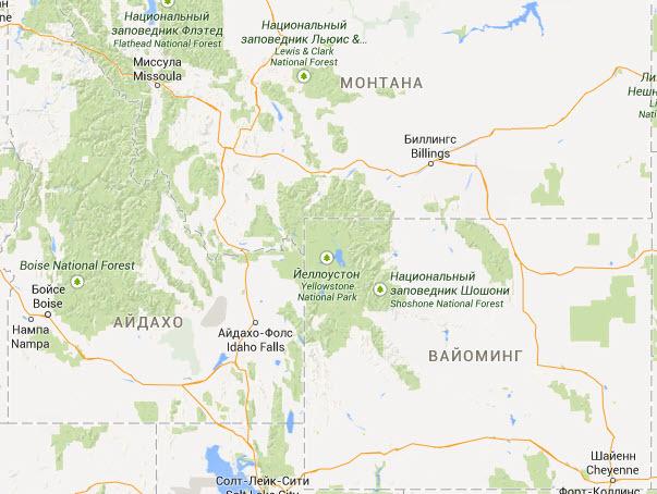 Карта региона супервулкана Йеллоустон - США