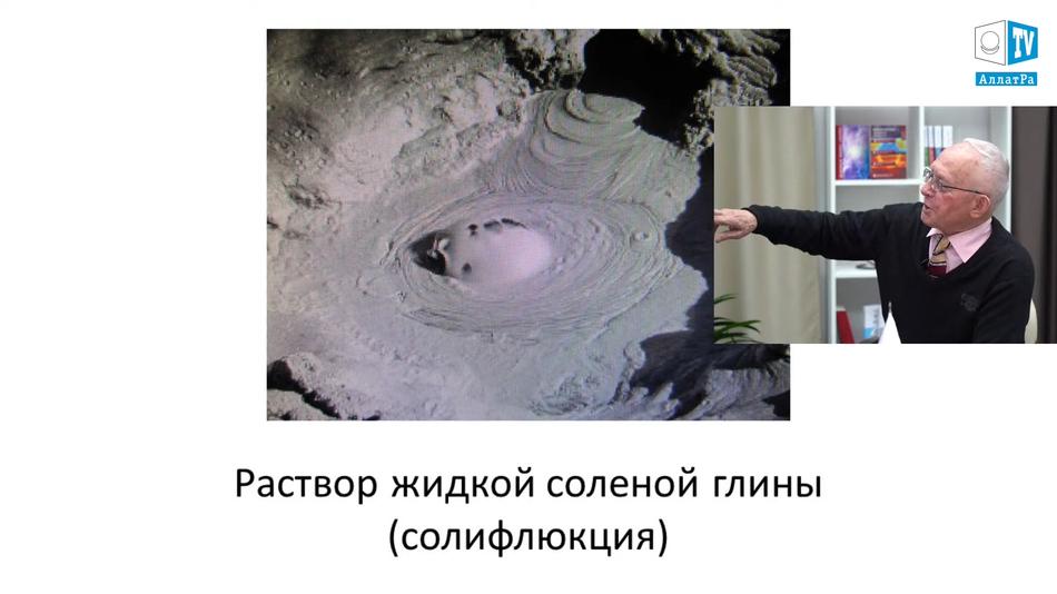 Грязь течёт сверху и заполняет ложкообразные или тарелкообразные круг