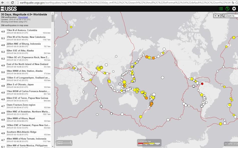 Карта сейсмической активности за период 06/06/2015 – 05/07/2015 магнитудой более 4.5 по данным USGS