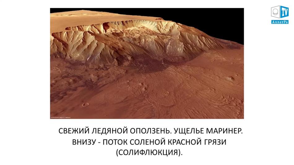 свежий ледяной оползень сползает в ущелье Маринер, фото Марса