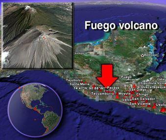 Активность вулкана Фуэго, Гватемала
