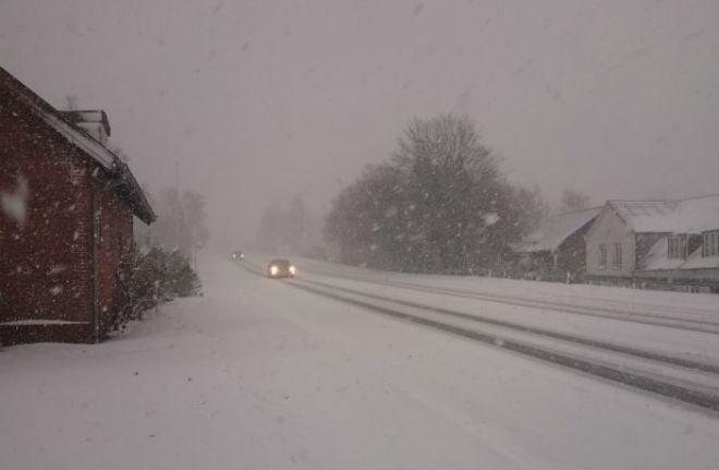 Снегопад в Дании 22 ноября 2015