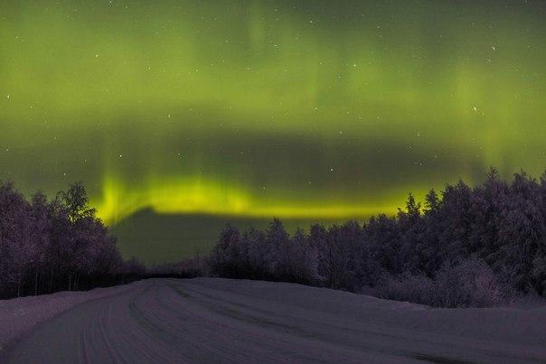 Полярное сияние над Коми, Россия 12 января 2016