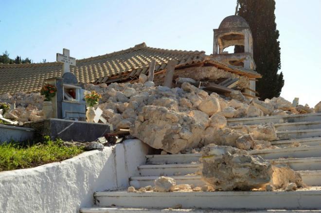 Смещение острова в Греции 21 ноября 2015