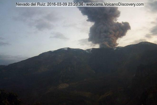 Извержение вулкана в Колумбии 9 марта 2016