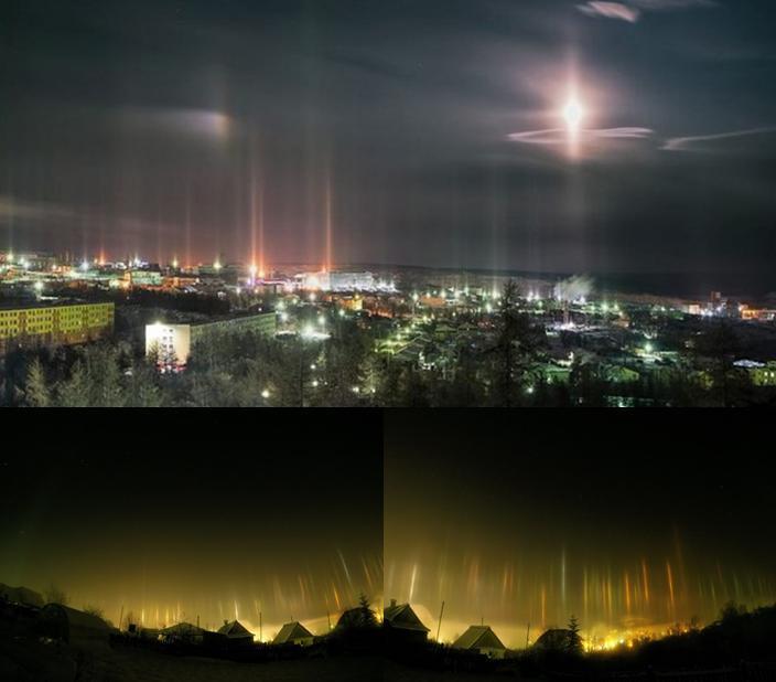 Световые столпы в Пермском краю и Якутии 13 ноября 2015