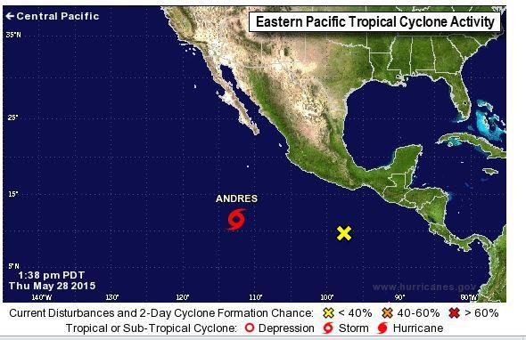 Тропический шторм «Андрес»  в восточной части Тихого океана