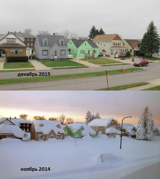 Отсутствие снега в США на 13 декабря 2015