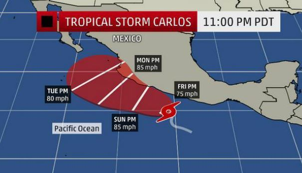 Тропический шторм Карлос  в восточной части Тихого океана