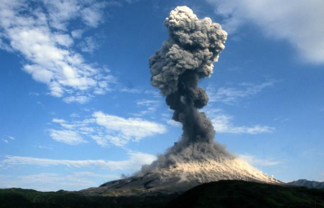 Извержение вулкана на Камчатке 01 марта 2016