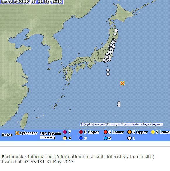 Серия землетрясений в Японии, 31 мая 2015