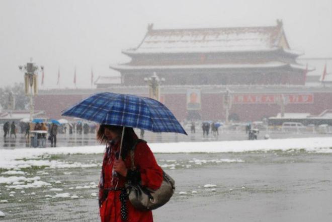 Снегопад в Китае 03 апреля 2016