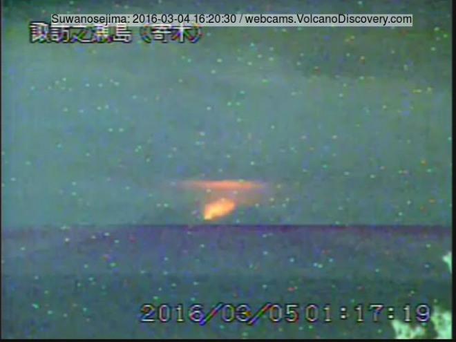 Извержение вулкана в Японии 21 марта 2016