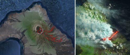 Извержение вулкана на Галапагосских островах 29 июня 2015