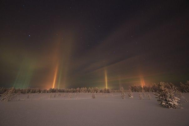 Световые столбы на Ямале 21 ноября 2015