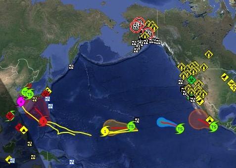 Шесть тропических штормов над Тихим океаном